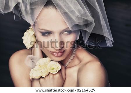 Portrait of beautiful bride - stock photo