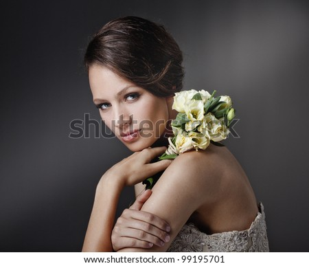 POrtrait of beautiful bride. - stock photo