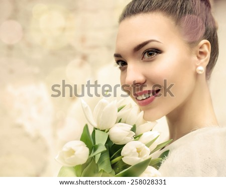 Portrait of beautiful bride. Wedding make up. Wedding decoration. Bokeh - stock photo