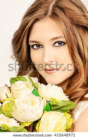 Portrait of beautiful bride with a bridal bouquet. Wedding. Beauty, fashion. Cosmetics. - stock photo