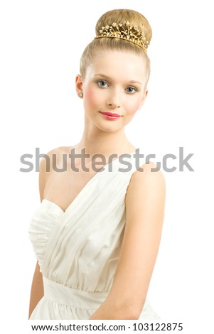 Portrait of beautiful bride with fashion wedding hairstyle and hair decoration - stock photo