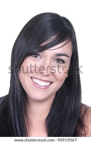 portrait of beautiful brunette on white background - stock photo