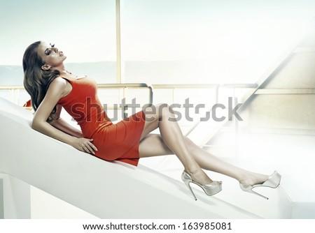 Portrait of beautiful brunette woman - stock photo