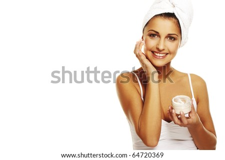 Portrait of Beautiful brunette woman doing daily morning routines - stock photo