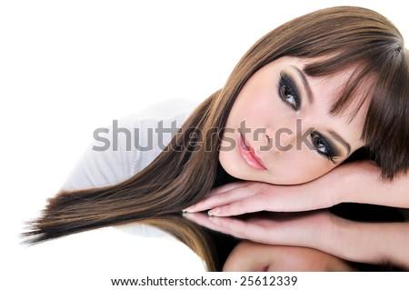 Portrait of beautiful brunette woman face - stock photo