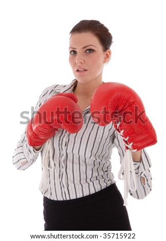 Portrait of beautiful business woman isolated on white Symbolizing some sort of fight or struggle - stock photo