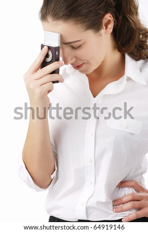 Portrait of beautiful business woman using cell phone - stock photo