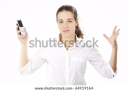Portrait of beautiful business woman using cell phone
