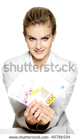 Portrait of beautiful business woman with euro banknote
