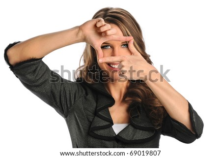 Portrait of beautiful businesswoman framing face with hands isolated over white background