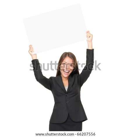 Portrait of beautiful businesswoman holding blank billboard over her head. Isolated on white background - stock photo