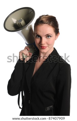 Portrait of beautiful businesswoman holding megaphone isolated over white background - stock photo