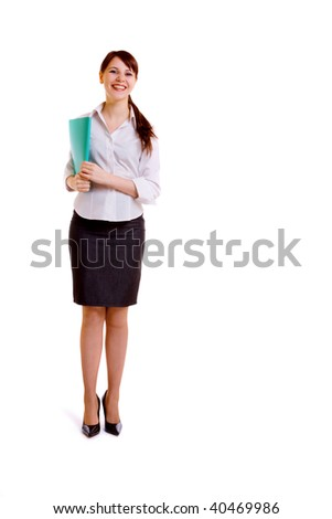 portrait of beautiful businesswoman isolated on white background - stock photo