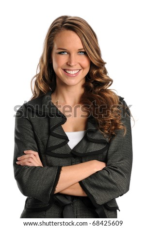 Portrait of beautiful businesswoman smiling with arms crossed isolated over white background
