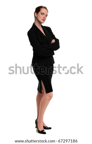 Portrait of beautiful businesswoman standing with arms crossed isolated over white background - stock photo
