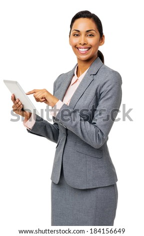 Portrait of beautiful businesswoman using digital tablet over white background. Vertical shot. - stock photo