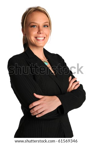 Portrait of beautiful businesswoman with arms crossed isolated over white background - stock photo