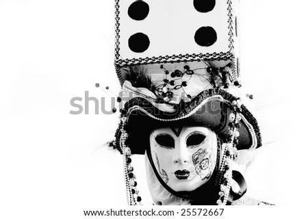 Portrait of Beautiful casino mask in Venice, Italy - stock photo