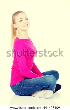 Portrait of beautiful casual woman. - stock photo