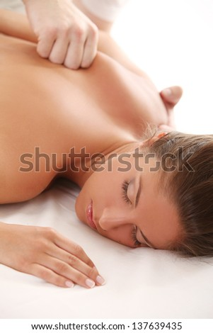Portrait of beautiful caucasian woman enjoy massage