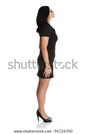 Portrait of beautiful caucasian woman looking up , isolated on white background - stock photo