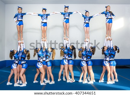 Portrait of beautiful cheerleaders  - stock photo