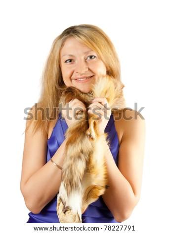 portrait of beautiful  chestnut head model with fox fur - stock photo
