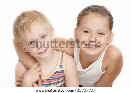 Portrait of beautiful children on a white background - stock photo