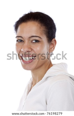 Portrait of beautiful, coloured woman which smiles happy. Isolated on white background. - stock photo