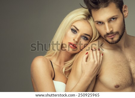 Portrait of beautiful couple - stock photo