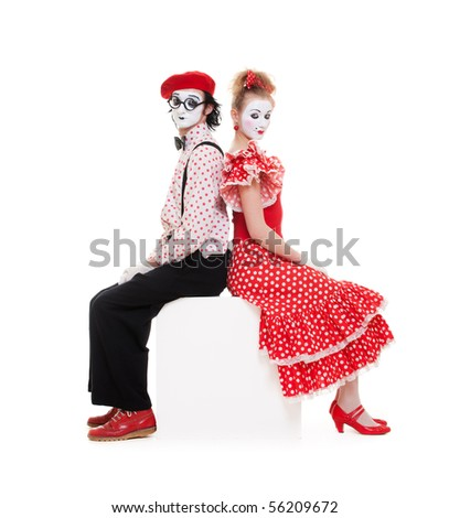 portrait of beautiful couple mimes. isolated on white - stock photo
