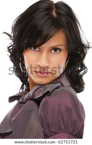 portrait of beautiful curly brunette posing on white - stock photo