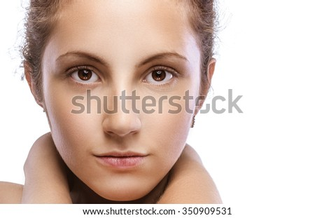 Portrait of beautiful curly girl close up. - stock photo