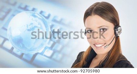 Portrait of beautiful customer representative with headset. - stock photo
