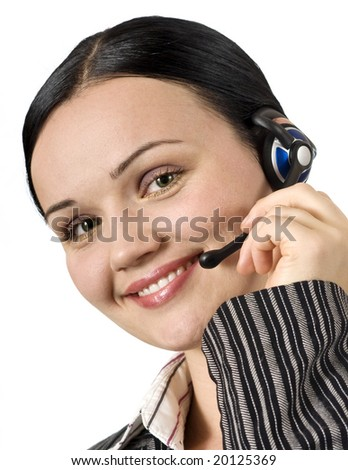 portrait of beautiful customer support woman isolated on white - stock photo