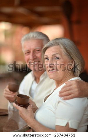 Portrait of beautiful elderly couple on date - stock photo