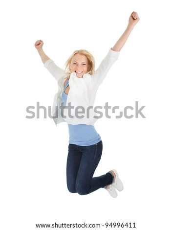 Portrait of beautiful excited young woman - stock photo