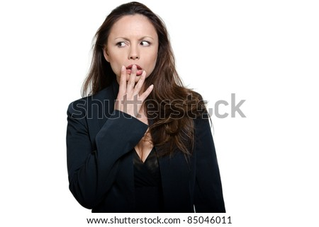 Portrait of beautiful expressive afraid Asian woman looking away in studio isolated on white background - stock photo