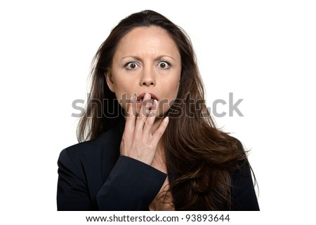 Portrait of beautiful expressive shocked Asian woman in studio isolated on white background - stock photo