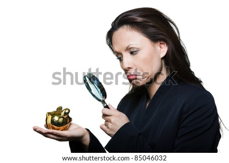 Portrait of beautiful expressive woman with small savings in studio isolated on white background - stock photo