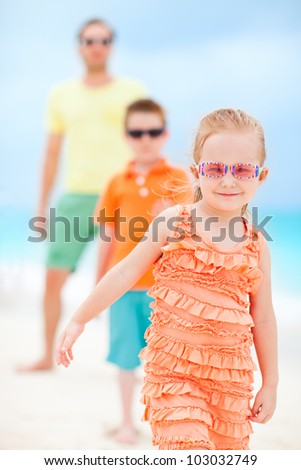 Portrait of beautiful family on beach vacation