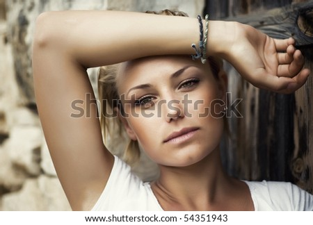 Portrait of Beautiful fashion girl - stock photo