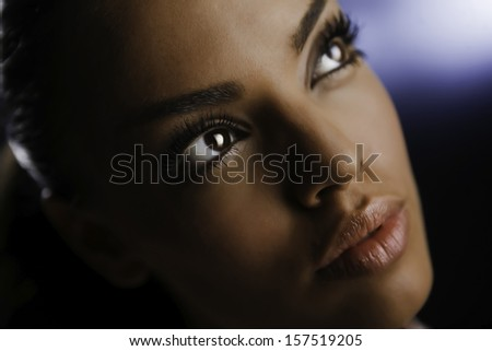 Portrait of beautiful fashion girl with make-up