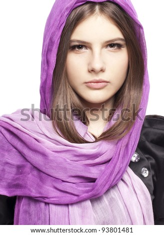 Portrait of beautiful fashion young girl teenager in lilac scarf healthy clean skin glossy brown hairs closeup in studio on white background - stock photo
