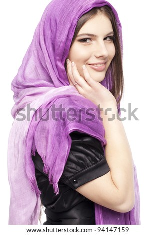 Portrait of beautiful fashion young girl teenager with lilac scarf healthy clean skin glossy brown hair closeup in studio on white background - stock photo
