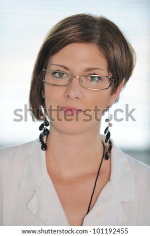 Portrait of beautiful female chemist - stock photo