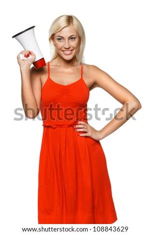 Portrait of beautiful female holding loudspeaker, isolated on white background - stock photo