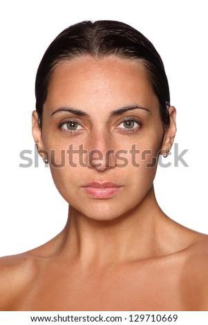 Portrait of beautiful female model on a white background - stock photo