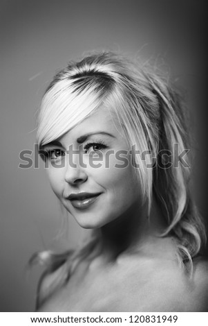 Portrait of beautiful female model shot in the studio - stock photo