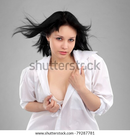 Portrait of beautiful female model with black hairs - stock photo